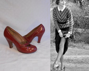 She'll Handle the Pick Up - Vintage 1930s Ruby Red Leather Pumps Heels Shoes - 5A