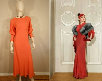 We Met Them in Biarritz - Vintage 1930s Pumpkin Orange Crepe Silk Dress w/Juliet Sleeves Bow Detail - 4/6