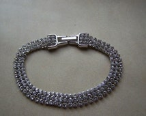 Beautiful Silver Swarovski Sparkling Triple Row Crystal Bracelet