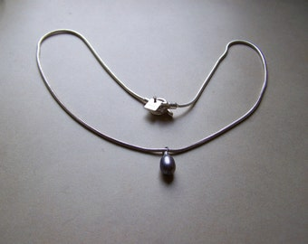 Sterling Silver Black Purple Pearl Necklace