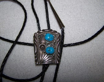 Sterling Silver Turquoise Old Pawn Native American Signed Ornate Black Braid Bolo Tie Squash Blossom