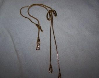 Gold Monet Slide Lariat Bow Necklace