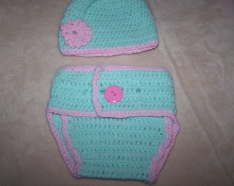 Mint Green Rose Pink Hat Diaper Cover Set Photography Prop
