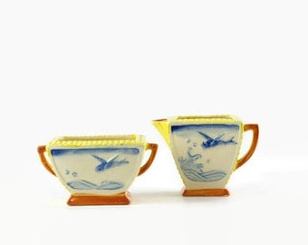 Vintage Cream and Sugar Set, Flying Fish, 1930s Art Deco, Made in Japan