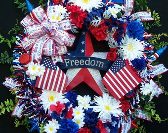 Lg  Patriotic Americana Military Door Wall Wreath