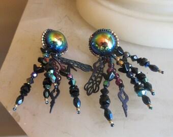 Vintage Chapita Art Glass Dangle Earrings