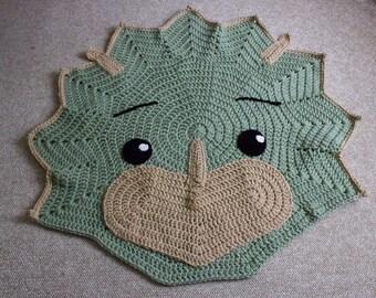 Dinosaur Rug Triceratops Dino Rug Child's Crochet Rug