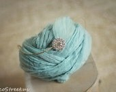 Baby Wrap and Baby Headband Set, Turquoise Cheesecloth, Rhinestone Feather Headband, Organic, Baby Props, Newborn Props, Baby Halo, Rustic