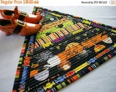 Reserved for Mary Set of 2 Halloween Mug Rug Quilted Snack Mat Triangle Scrappy Brights Reversible Quiltsy Handmade FREE U.S. Shipping
