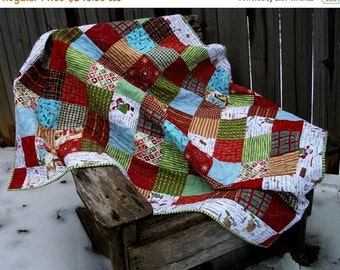CIJ SALE Christmas Lap Quilt Christmas Baking Theme Quilted Winter Quiltsy Handmade FREE U.S. Shipping