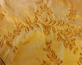 Fabric by the yard, silk, tone on tone, embroidered with vines and leaves, one yard.