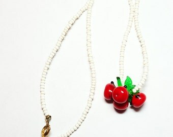 Beaded Cherry Vintage Necklace Cherries Red White Vintage Jewelry