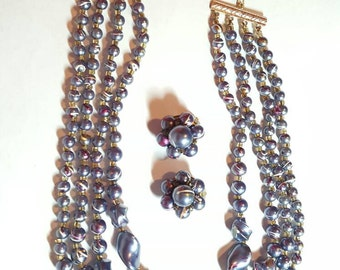 Vintage Jewelry Set Necklace Earrings Spatter Hong Kong Vintage Jewelry