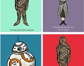 Star Wars Printable Valentines For Kids Star Wars Valentine Cards Heart Love Geeky Sci-Fi Cute Chewbacca BB 8 and Rey Valentine Printable