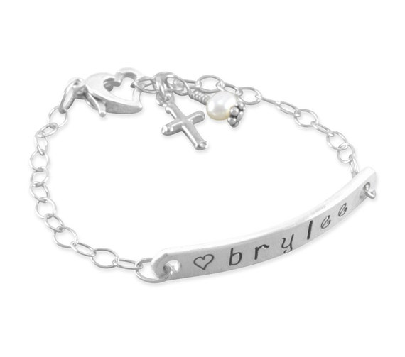 Baby Id Bracelet Hand Stamped Sterling Silver Little Girls