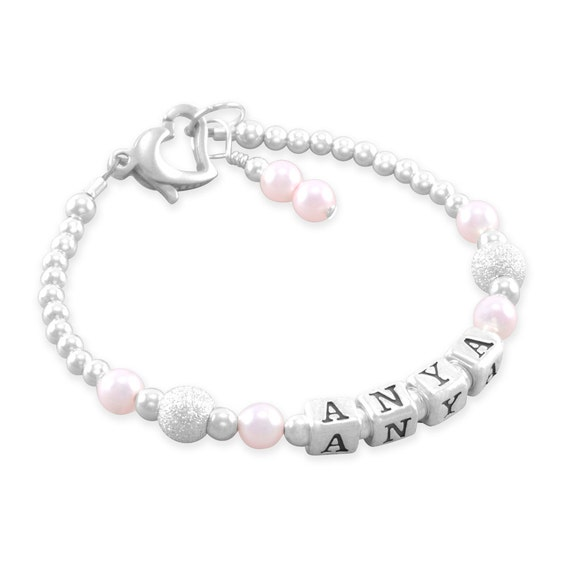 Baby Girl Gift, Baby Name Bracelet, Sterling silver, first birthday, personalized, present, pink pearls, infant jewelry, childrens, ANYA