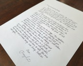 Handwritten Letter - You Choose Wording, I Write It and You Save Time
