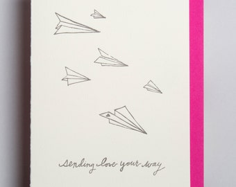 "letterpress card,  ""sending love your way"""