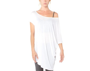 White Meta Dress - Off the Shoulder Dress - TShirt Dress - Tunic Dress - White Tshirt Dress - White Dress