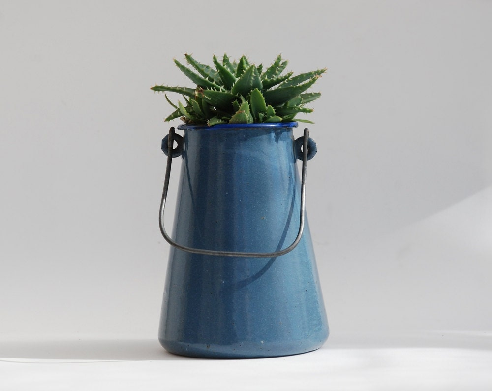 Enamel Blue Pot Milk Can Rustic Planter French Country