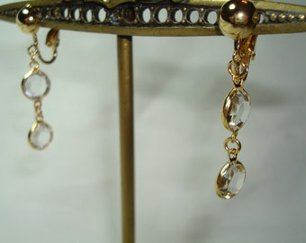 1994 Golden Crystal Facetted Dangle Earrings.