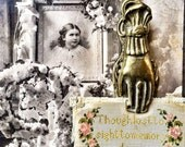 Vintage Victorian Style Brass Hand Clip Holder Display