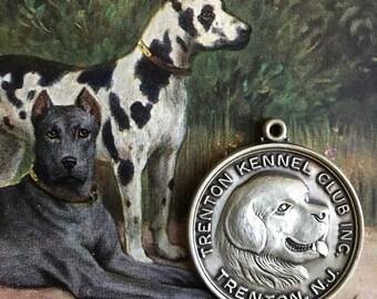 Vintage Dog Show Medal Sterling Silver Medallion Trenton Kennel Club
