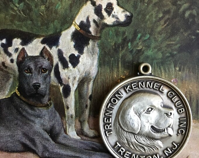 Vintage Dog Show Medal Sterling Silver Medallion Trenton Kennel Club