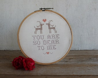 "Vintage Embroidery Hoop Art // ""You Are So Dear to Me"" // Deer Decor"