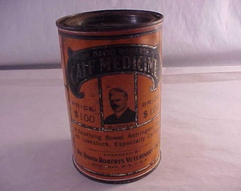 Dr David Roberts Calf Medicine Vintage Advertising Tin