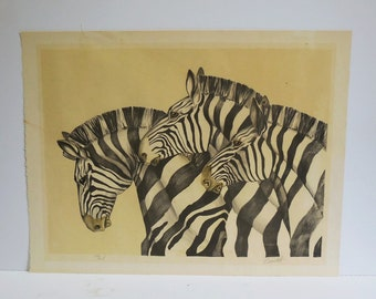 Vintage art Print Three Zebras Signed Bartlett Numbered lithograph animals large 20 x 26