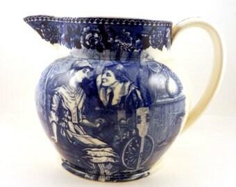 Wedgwood Blue Transfer Pitcher Priscilla & John Alden Pilgrim Mayflower Scene from Courtship of Miles Standish