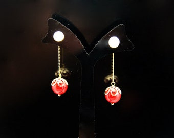 1pair(jke-018rc) - sterling silver earrings with natural red coral and fresh water pearl