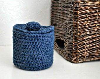 Windsor Blue Toilet Tissue Basket Bathroom Decoration Spare Roll Holder Nautical Home Decor Custom Colors
