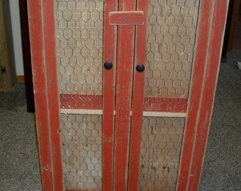 Rustic Red Chicken Wire Cabinet