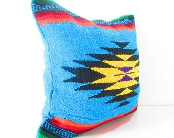 Aqua Blue Aztec Pillow cover, Mexican Pillows, Tribal Pillows, Aztec Cushion, Pillows, Serape Pillow, Southwestern pillows, 20 inch