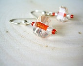 Retro Striped Triangle Earrings ~ Repurposed Jewelry, Orange, Mid Century, Rockabilly, Gift for Her