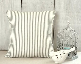 Shabby Cottage Chic Farmhouse Charcoal Gray Ticking Pillow Cover