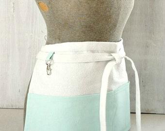 Aqua Blue Half Apron - Drop cloth canvas apron - Vendor - Mom - Teacher