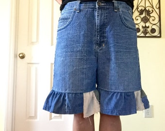 Jean bloomers ruffles denim shorts plus size romantic clothing patchwork gypsy beach boho upcycle refashion recycled