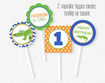 Alligator Cupcake Toppers, Gator Birthday Toppers, Alligator Party Decorations, Printable Birthday Cupcake Circles