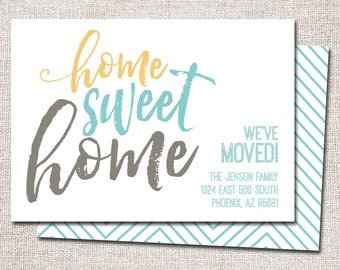 hnliche artikel wie wir sind umgezogen postkarte druckbare home sweet home neue visitenkarte. Black Bedroom Furniture Sets. Home Design Ideas