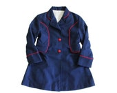 BLOWOUT 40% off sale VIntage 70s Navy Blue Coat GIrls Size 5 - polyester, red piping and buttons