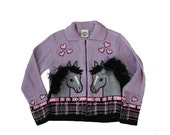 BLOWOUT 40% off sale Vintage 80s Horse and Heart Purple Cardigan Sweater - Rod's 10 12 - Childrens, Girls, Made in America