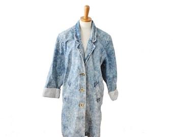 CIJ 40% off sale // Vintage 80s ACID WASH Stefano International Denim Duster Jean Jacket - Women M