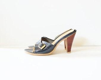 50% half off sale // Vintage 70s NAVY BLUE Stacked Heel Sandals - Connie - Women 7.5 Narrow