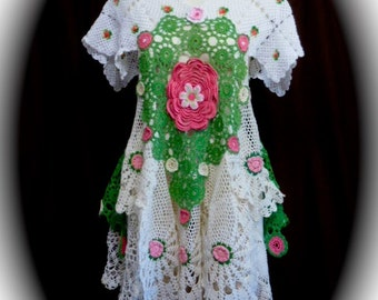 OOAK  Crochet Couture Repurposed Doilies Tunic Dress in Hot Pink, Grass Green and White