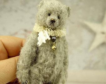"""Blue,  Miniature 4""""  Mohair Artist Teddy Bear  from Aerlinn Bears"""