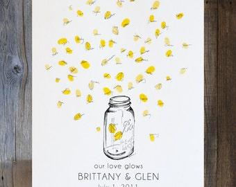 Mason jar guestbook with thumbprint fireflies, Summer wedding, Guest book alternative, like wedding fingerprint tree (with 1 ink pad)
