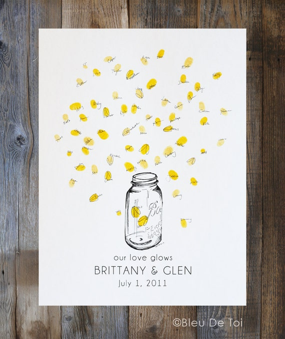 Fingerprint Wedding Guest Book, Mason jar with thumbprint fireflies, Country wedding Decor, like wedding fingerprint tree (w/ 1 ink pad)